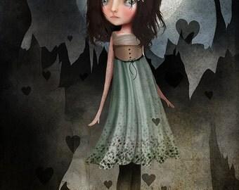 Fine art print - 'Jagged' - Large Sized print - 11x17 or 13x19 - Dark Haired Girl by Jessica von Braun - Hearts - Dark - Gothic Lolita Girl