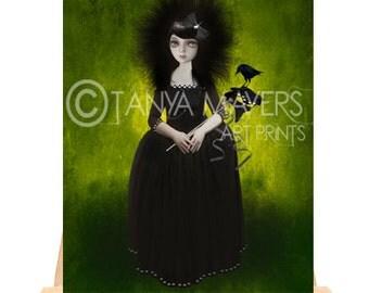 ACEO Card - Masquerade Madame & Blackbird - miniature art