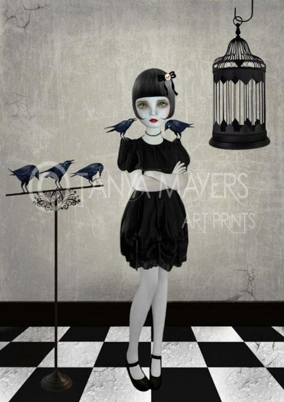 Companions - Gothic Art Print - Lolita & Blackbirds