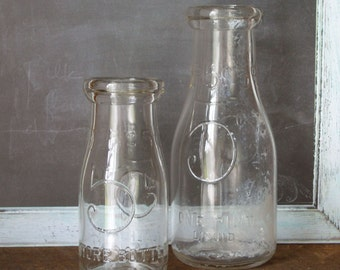 "2 Vintage 5 Cent Milk Store Bottles Duraglas 5.5"" Half Pint and 7.5"" Pint"