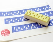 washi tape stamp. rain drop hand carved rubber stamp. edge border craft stamp. birthday wedding scrapbooking. gift wrapping. sprint crafts