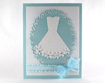 Wedding shower card, bridal shower card, bridal gown, bride, wedding dress, embossed card, blue and white