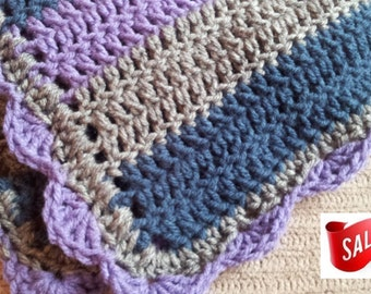 SALE Stroller Blanket, Striped Baby, Lavender, Heather and Windsor Blue, Afghan, Blanket, Lap Blanket, Throw, Ready to Ship