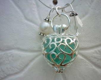 Heart Sea Glass Necklace Aqua Blue Locket Jewelry Seaglass