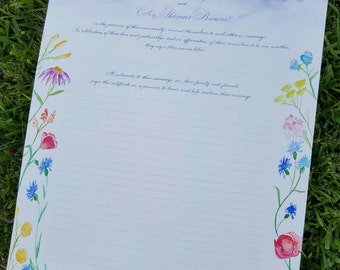 Custom Quaker Marriage Certificate with Calligraphy and Watercolor, Watercolor Mountains, Watercolor Wildflowers DEPOSIT