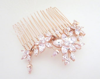 Rose Gold Bridal headpiece, Rose Gold Bridal hair comb, Wedding headpiece, Bridal jewelry, Crystal hair comb, Flower hair comb, Vintage