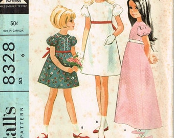 Girls High Waisted Dress Sewing Pattern Empire Waist Fitted Bodice Puff sleeve Vintage 1960s McCalls 8328 Children Size 6