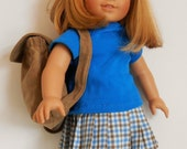 Blue and tan checked skirt, tan suedecloth backpack, knit teal top and panties fit American Girl