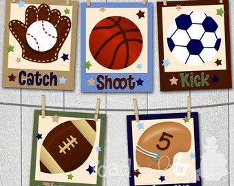 Set of 5 Boys All Star Sports - Football Soccer Baseball Basketball Bedroom 8x10 ART PRINTS