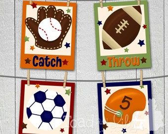 Set of 4 Little Boys Sports - Football Soccer Baseball MVP Bedroom 8x10 ART PRINTS