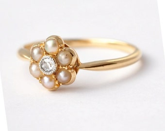 pearl engagement rings antique diamond pearls 18k gold size 6 - Pearl Wedding Ring