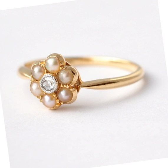 Pearl Engagement Rings Antique Diamond Pearls & 18K Gold