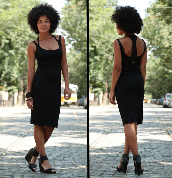 Open Back Dress, Black Cotton Dress, Black Midi Dress, Black Party Dress, Light Dress, Pencil Dress, Summer Cotton Dress, Backless Dress