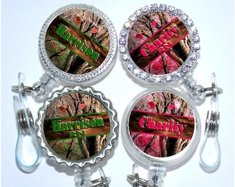 Retractable Id Badge Holder - Personalized Pink or Green Camouflage Badge Reel, Nurse Badge Reel (A324)