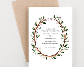 Woodland Holly Save The Date, Red and Green, Bridal Luncheon Invitation, Bridal Shower or Wedding Announcement