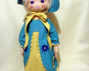 "Tagged LENCI Doll Felt Doll 24"" Made In Italy"