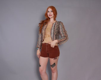 70s Hand WOVEN Textured WOOL JACKET / 1970s Cropped Southwestern Cardigan