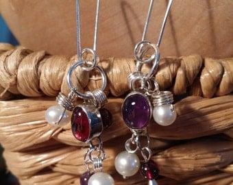 Vintage gemstone oval dangles