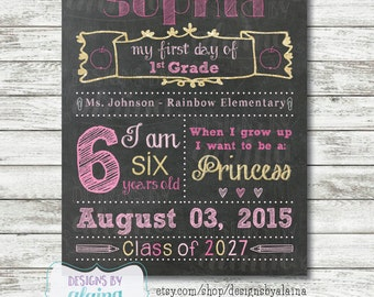 Girl 1st Day of School Sign Chalkboard, Pre-K, 1st, 2nd, 3rd, 4th, 5th, Any Grade, Pink, Gold, Glitter, Personalized / Digital / Printable