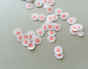 40 Miniature White Daisy Punch Die Cut Embellishments - Coral Flower Centre