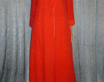 Vintage 70's - Bright Red - Quilted - Asymmetrical Tie - Polyester Velour - Zip Front - Robe - Dressing Gown - House Coat - marked size S/M