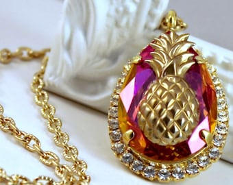 Gold Pineapple and Astral Pink Swarovski Crystal Teardrop Pendant with Halo Crystals on a Gold Chain, Layering Necklace