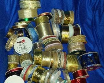 ribbon huge lot large flat rate box destash over 50 rolls metalic gold holiday craft bows