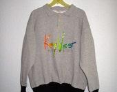 80s Vintage KEY WEST Roomy Sweatshirt / Hipster Mod XL Gray Sweatshirt Neon / Unisex Pullover Polo Sweater Top Grey Florida