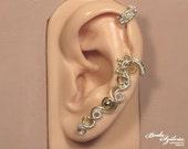 TIMELESS steampunk cartilage EAR CUFF - silver and brass ear cuff, adjustable ear cuff, no piercing ear cuff, steampunk jewelry, ear wrap