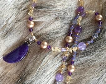 SUN MOON & STARS Necklace (Charoite, Citrine, Tanzanite, Ametrine, Amethyst, Swarovski Pearls, Czech Glass)