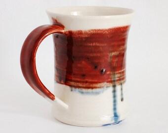 16 oz Mug Red and White Porcelain Ceramic Mug Large