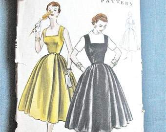 Vintage Vogue 1950s Dress Sewing Pattern Vogue 8394 OnePiece Dress or Jumper Dress Skirt  released pleats sleeveless bodice Bust 32 inches