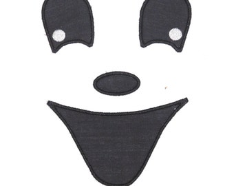 """Embroidered Iron On Applique """"Boy Ghost Face""""  RTS"""