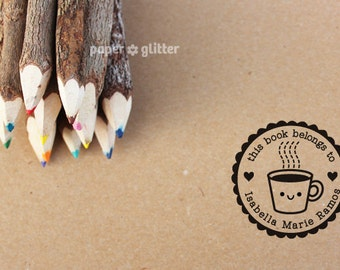 Personalized Rubber Stamp Kawaii Coffee Cup Round Circle Make Your Own Cute Text (Wood Engraved or Self Inked) 0177