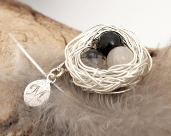 Personalized bird nest necklace with 3 rutilated quartz eggs and initial charm- silver plated woven wire- Sterling chain- April birthstone