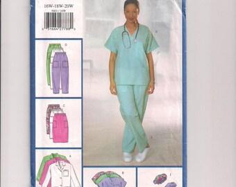 Plus Size Uniform Butterick 5601 Hospital Scrubs, Skirt Pattern, ScrubTop and Pants, Lab Coat Pattern, Medical Uniform, 16W- 20W Uncut