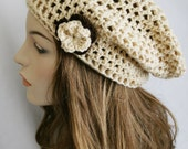 Slouchy Beanie Hat for Women Slouch Hat Womens Crochet Cream Hat Beret Hat Tam Hat Skater Boy Cap