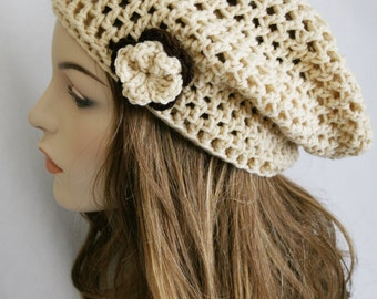 Slouchy Beanie Hat for Women Slouch Hat Womens Crochet Cream Hat Beret Hat Tam Hat Skater Boy Cap