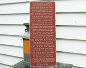 Mother Teresa Do It Anyway - 12x30 Religious Christian Carved Engraved Handpainted Shabby Chic Rustic Wooden Sign