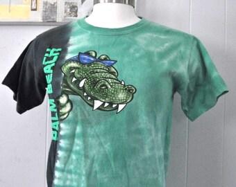 TShirt Palm Beach Fl Florida Alligator jungle Nature Science Vintage Tee Green Tie Dye Youth Small Ladies XS