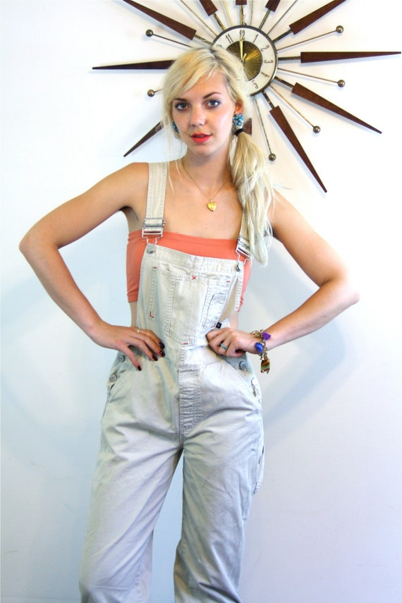 Vintage 90s Womens Khaki Overalls Long Dungarees Cargo Pockets