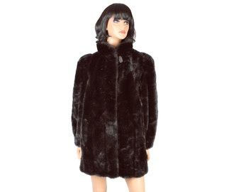 Vintage 80s 90s Winter Coat Sz M Dark Brown Glossy Faux Mink Fur Thigh Length Free US Shipping