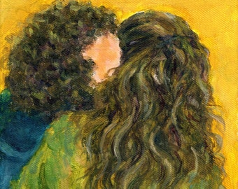 lovers art - The Kiss Of Two Curly Haired Lovers - wall decor, art print, home room dorm decoration, Valentine's day gift