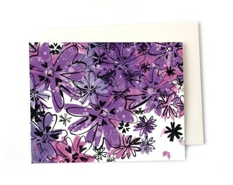 Thank You Note, Purple Phlox Flowers Blank Everyday Greeting Card