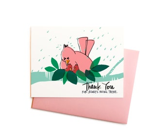 Sweet Mama Bird Thank You Note,  Mother's Day Greeting Card