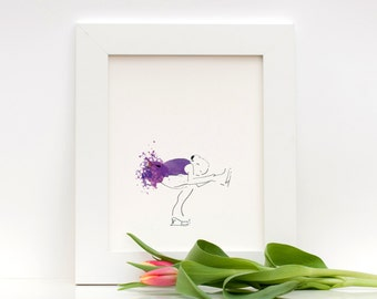 Figure Skater Art Print, Purple Watercolor Study: Flying Sit Spin Illustrated Art Print