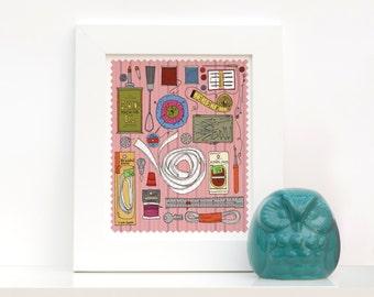 Vintage Singer Sewing Machine Sewing Kit Illustration in Pink