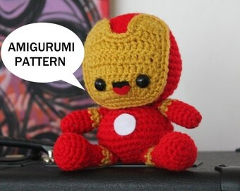 Iron Man Amigurumi Pattern - Marvel Comics - Avengers Plush - Tony Stark - Chibi - Kawaii