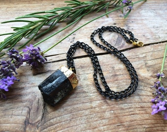 Gold Dipped Black Tourmaline Crystal Necklace - Raw Drop Rough Clear Dark Crystal Point Cluster Natural Layering Chain Goth Gothic Stone