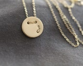 gold initial disc necklace, circle monogram small letter, simple delicate, bridesmaids wedding everyday, N157